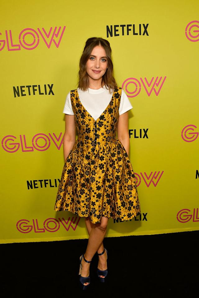 <p>For an event celebrating Netflix series 'Glow' on 29 July, actress Alison Brie wore an Isa Arfen dress layered over a simple white tee. BRB, need to try out this styling technique. <em>[Photo: Getty]</em> </p>