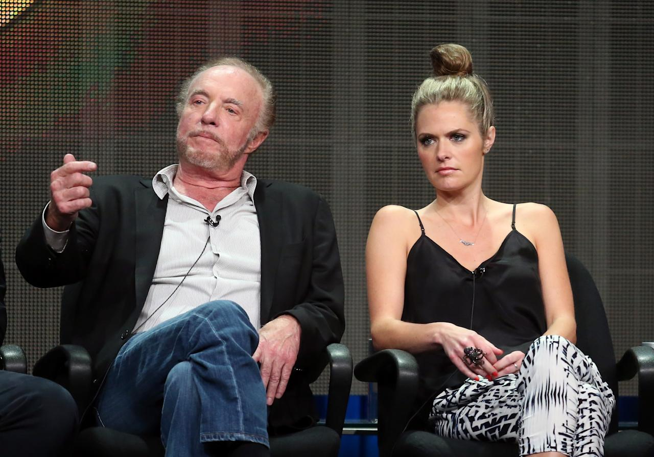 """BEVERLY HILLS, CA - AUGUST 04: Actors James Caan (L) and Maggie Lawson speak onstage during the """"Back in the Game"""" panel discussion at the Disney/ABC Television Group portion of the Television Critics Association Summer Press Tour at the Beverly Hilton Hotel on August 4, 2013 in Beverly Hills, California. (Photo by Frederick M. Brown/Getty Images)"""