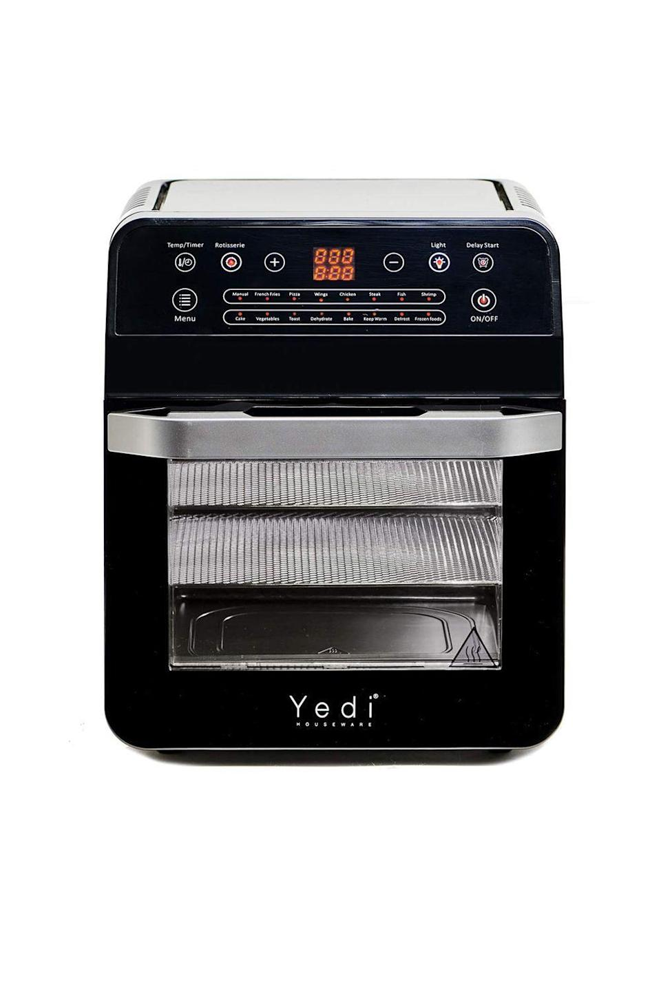 """<p><strong>Yedi Houseware</strong></p><p>amazon.com</p><p><strong>$148.95</strong></p><p><a href=""""https://www.amazon.com/dp/B07X2LRVS3?tag=syn-yahoo-20&ascsubtag=%5Bartid%7C10050.g.34621820%5Bsrc%7Cyahoo-us"""" rel=""""nofollow noopener"""" target=""""_blank"""" data-ylk=""""slk:Shop Now"""" class=""""link rapid-noclick-resp"""">Shop Now</a></p><p>Not only can this air fryer whip up healthier versions of breakfast indulgences (home fries, anyone?), but it's also a great gift for anyone who loves to snack throughout the day (so everyone, basically). Pop in fruit slices in the morning and have yummy dried treats to enjoy after lunch.</p>"""