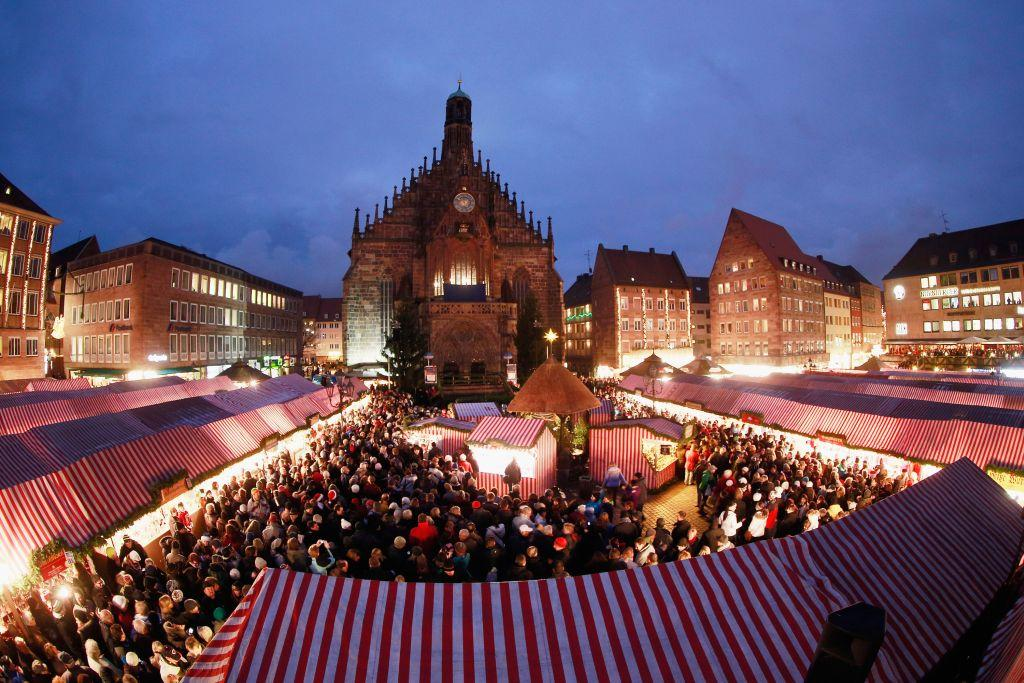 GERMANY:  The traditional Christmas market 'Nuernberger Christkindlesmarkt' in Nuremberg, Germany. Originating in the 16th century the Nuremberg Christmas market is seen as one of the oldest of its kind in Germany.