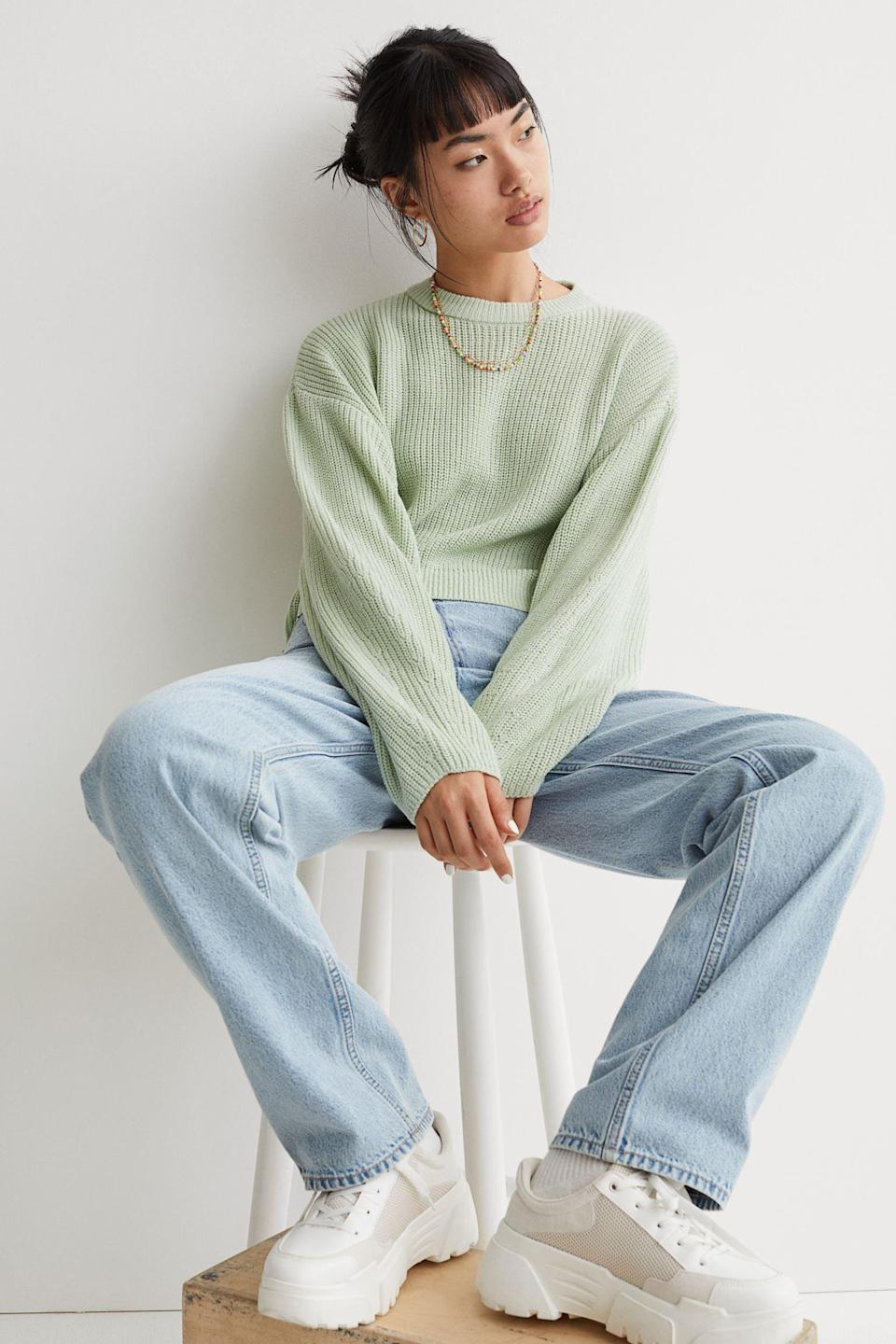 <p>This <span>Rib-knit Sweater</span> ($18) styled with your favorite denim jeans? The most effortless cool and comfortable everyday look.</p>