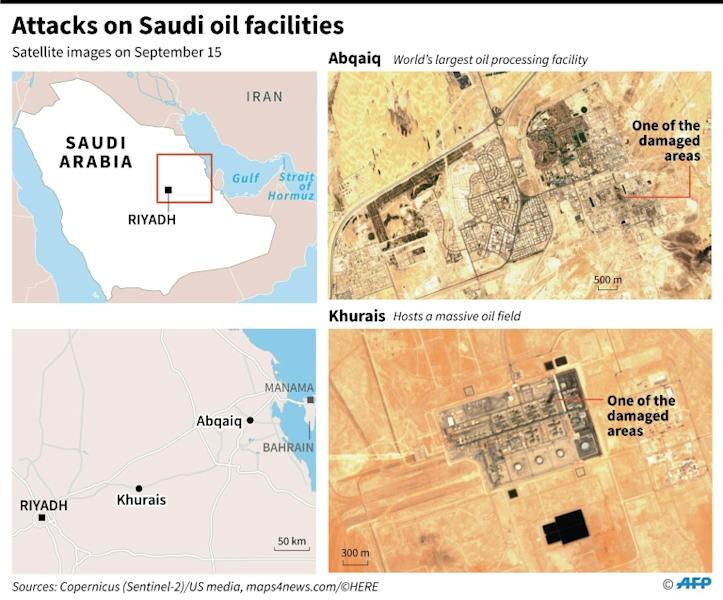 Satellite images taken on September 15 showing some of the damaged areas of Saudi Arabia's oil installations that were attacked by drones