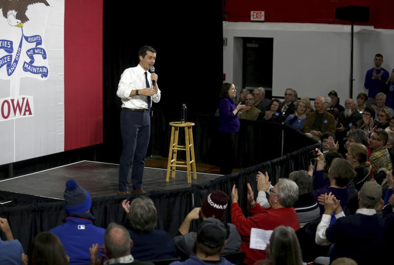 Democratic presidential candidate South Bend, Ind. Mayor Pete Buttigieg speaks during a campaign stop at Maquoketa Middle School in Maquoketa, Iowa, Monday, Dec. 30, 2019. (Eileen Meslar/Telegraph Herald via AP)