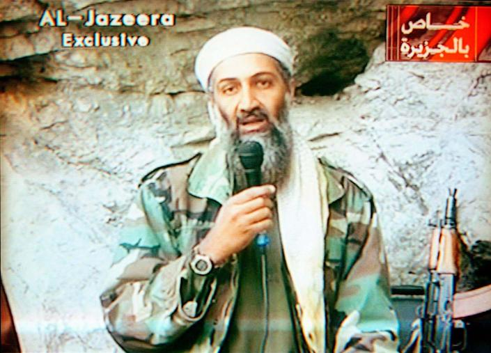 """<div class=""""inline-image__caption""""><p>Osama Bin Laden appears on Al-Jazeera Television praising the attacks of September 11th. </p></div> <div class=""""inline-image__credit"""">Maher Attar/Sygma via Getty</div>"""