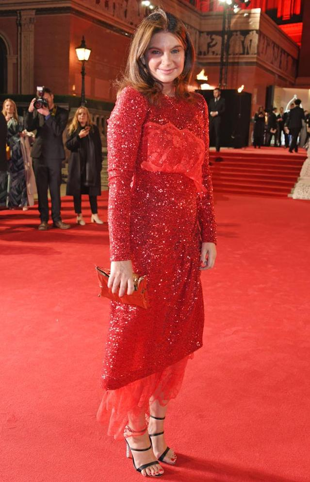 <p>Natalie Massenet color coordinated with the red carpet as she chose a bejewelled gown and nineties-esque heels for the fashion ceremony. (Photo: Getty Images) </p>