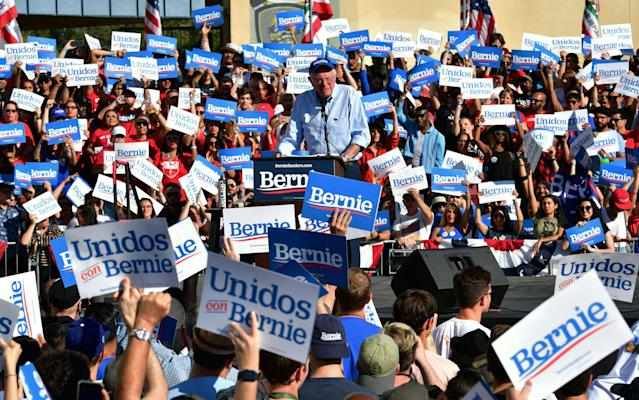 Sanders at a campaign rally in November of last year in Los Angeles. (Frederic J. Brown/AFP via Getty Images)