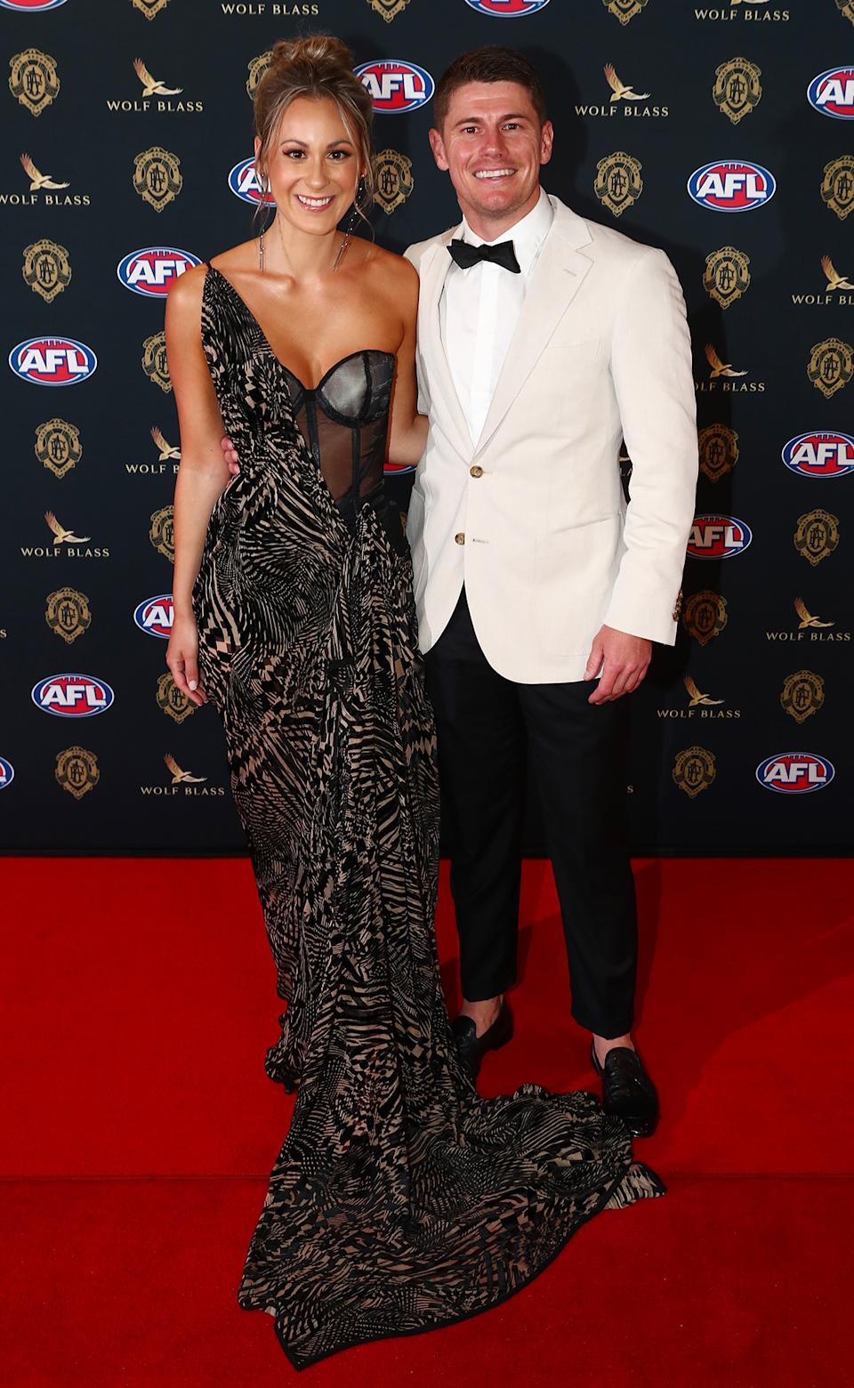 Dayne Zorko and Talia Demarco at the Brownlow Medal 2021