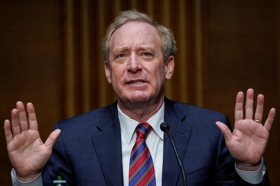 Microsoft President Brad Smith testifies during a Senate Intelligence Committee hearing on Capitol Hill in Washington, U.S., February 23, 2021. Drew Angerer/Pool via REUTERS