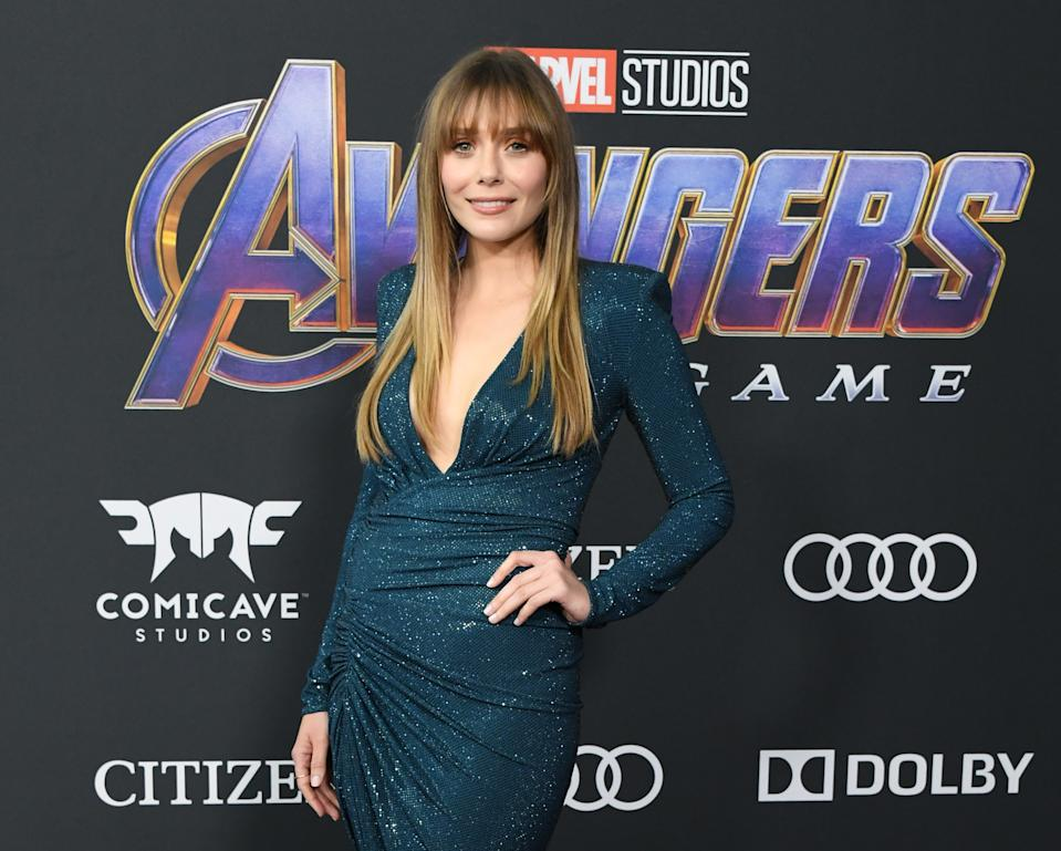 "Elizabeth Olsen attends the World Premiere Of Walt Disney Studios Motion Pictures ""Avengers: Endgame"" at Los Angeles Convention Center on April 22, 2019 in Los Angeles, California. (Photo by Jon Kopaloff/Getty Images)"