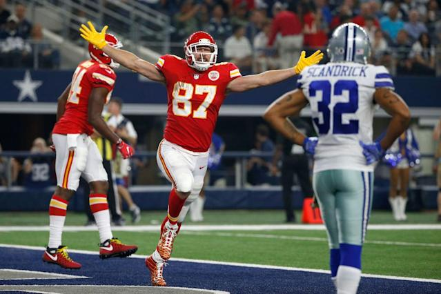 Travis Kelce, enjoying success. (Getty)