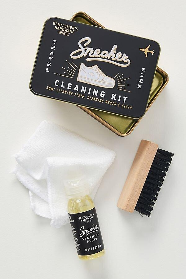 """<p>Struggling to <a href=""""https://www.realsimple.com/beauty-fashion/clothing-care/how-to-clean-white-shoes"""" rel=""""nofollow noopener"""" target=""""_blank"""" data-ylk=""""slk:keep your new white sneakers clean"""" class=""""link rapid-noclick-resp"""">keep your new white sneakers clean</a>? This kit can help. It comes with cleaning fluid, a brush, and a cloth, all packaged in a convenient tin you can toss in your bag or desk drawer. </p> <p><strong>To buy: </strong>$15, <a href=""""https://click.linksynergy.com/deeplink?id=93xLBvPhAeE&mid=39789&murl=https%3A%2F%2Fwww.anthropologie.com%2Fshop%2Fgentlemens-hardware-sneaker-cleaning-kit%3F&u1=RS%2CAnthropologieJustLaunchedMoreThan1%252C700NewHomeItems%25E2%2580%2594Our5FavoritesUnder%252450%2Ckholdefehr1271%2CDEC%2CIMA%2C691325%2C202001%2CI"""" rel=""""nofollow noopener"""" target=""""_blank"""" data-ylk=""""slk:anthropologie.com"""" class=""""link rapid-noclick-resp"""">anthropologie.com</a>. </p>"""