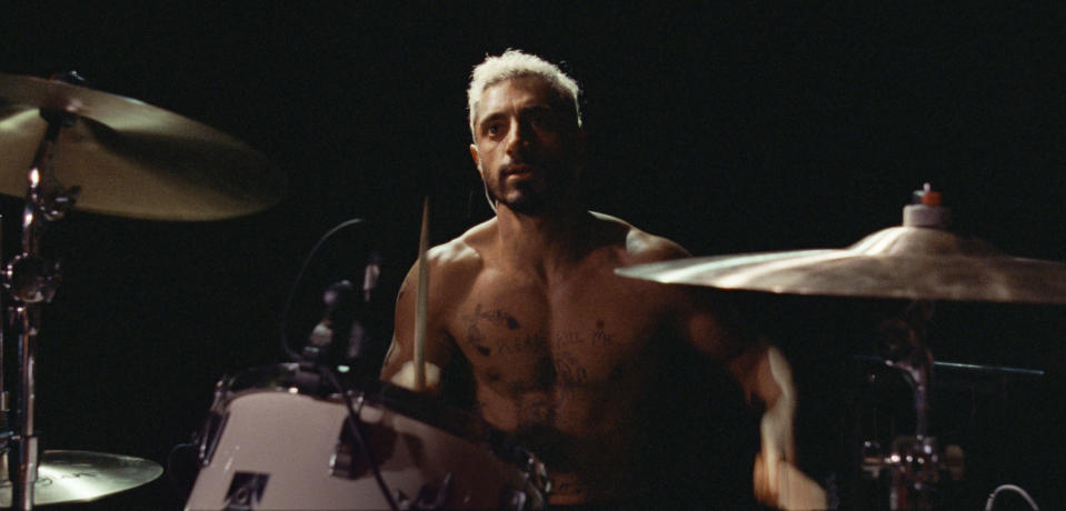 """This image released by Amazon Studios shows Riz Ahmed in a scene from """"Sound of Metal."""" Ahmed was nominated for a Golden Globe for best actor in a motion picture drama on Wednesday, Feb. 3, 2021 for his role in the film. (Amazon Studios via AP)"""