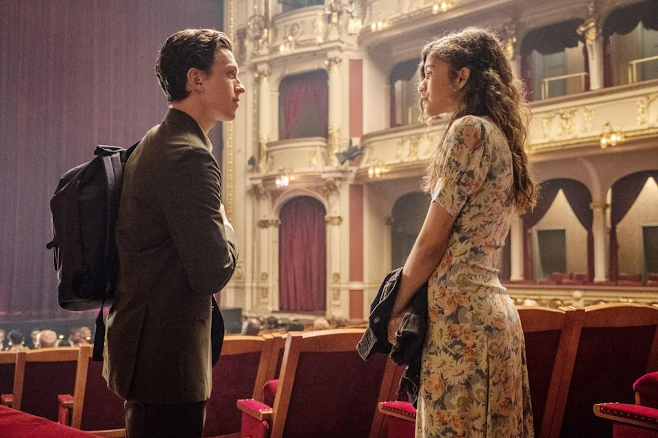 """<p>Take out all the, you know, superhero stuff and you basically have a movie about Tom Holland and Zendaya on summer vacation in Europe. They take in the sights of Venice, Italy, spend time in the Czech Republic, and there's even a stop in London, England. It's a delight! </p> <p><a href=""""https://www.amazon.com/Spider-Man-Far-Home-Tom-Holland/dp/B07TKZQFJC"""" rel=""""nofollow noopener"""" target=""""_blank"""" data-ylk=""""slk:Available to stream on STARZ."""" class=""""link rapid-noclick-resp""""><em>Available to stream on STARZ.</em></a></p>"""
