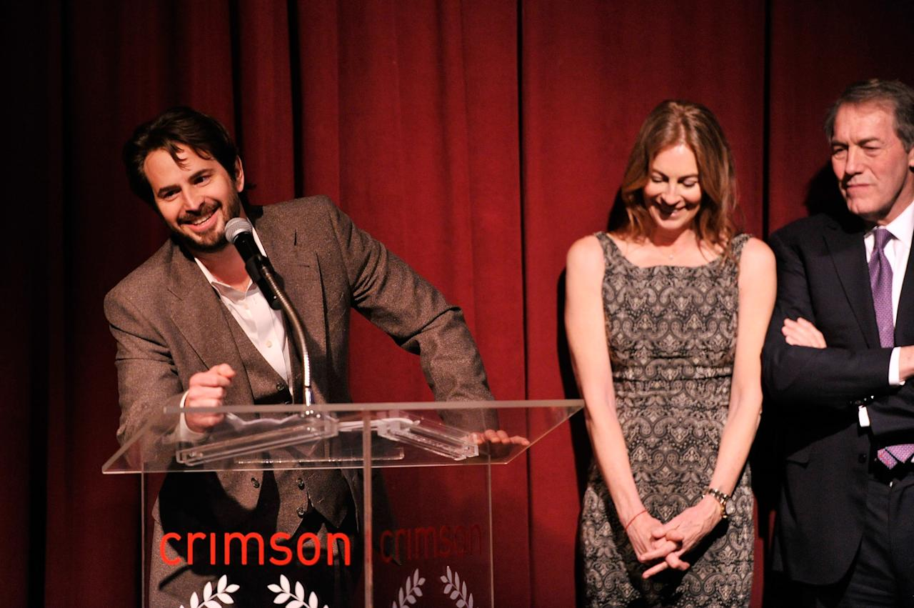 NEW YORK, NY - JANUARY 07:  (L-R) Screenwriter Mark Boal, Filmmaker Kathryn Bigelow, and journalist Charlie Rose speak onstage at the 2012 New York Film Critics Circle Awards at Crimson on January 7, 2013 in New York City.  (Photo by Stephen Lovekin/Getty Images)