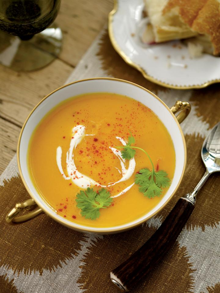 """<p><strong>Recipe:</strong> <a rel=""""nofollow"""" href=""""http://www.myrecipes.com/recipe/sweet-potato-soup-50400000125254/""""><strong>Sweet Potato Soup</strong></a></p><p>Make the soup through Step 2 the day before. Reheat, and stir in the lime juice before serving.</p>"""
