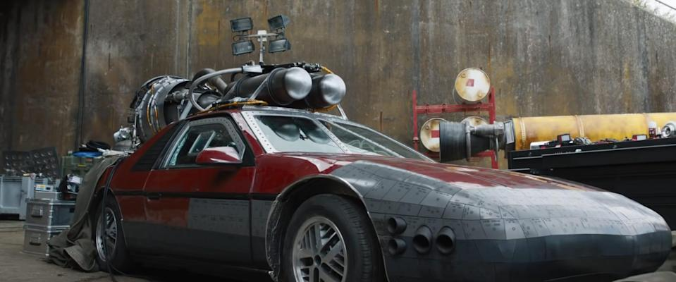 Pontiac Fiero with rockets strapped to it featured in Fast 9