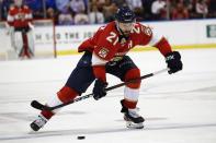 Florida Panthers center Vincent Trocheck (21) skates with the puck during the second period of the team's NHL hockey game against the Los Angeles Kings, Thursday, Jan. 16, 2020, in Sunrise, Fla. (AP Photo/Brynn Anderson)