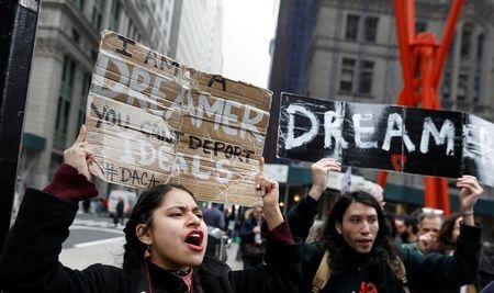 FILE PHOTO: Activists and DACA recipients march up Broadway during the start of their 'Walk to Stay Home,' a five-day 250-mile walk from New York to Washington D.C., to demand that Congress pass a Clean Dream Act, in Manhattan