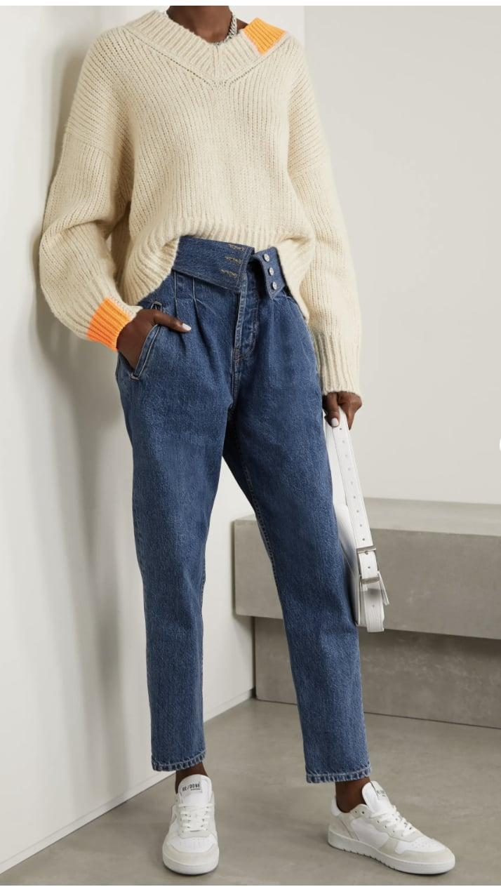 <p><span>Re/Done 80s Fold-Over High-Rise Tapered Jeans</span> ($350)<br></p>