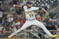 Milwaukee Brewers relief pitcher Miguel Sanchez throws to an Atlanta Braves batter during the eighth inning of a baseball game Saturday, July 31, 2021, in Atlanta. (AP Photo/Hakim Wright Sr.)
