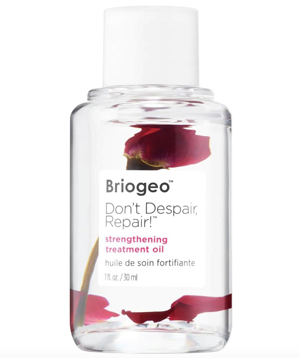 <p>The <span>Briogeo Don't Despair, Repair! Strengthening Treatment Hair Oil</span> ($30) is a reparative product that nourishes and strengthens the hair to prevent any further damage from heat or split ends.</p>