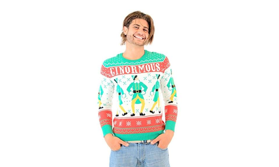 """<p>Like maple syrup on a big plate of spaghetti, this Buddy the Elf top is one sweet treat. <strong><a rel=""""nofollow noopener"""" href=""""https://www.amazon.com/Elf-Ginormous-Ugly-Christmas-Sweater/dp/B015NF7OG4"""" target=""""_blank"""" data-ylk=""""slk:Buy here"""" class=""""link rapid-noclick-resp"""">Buy here</a></strong> </p>"""