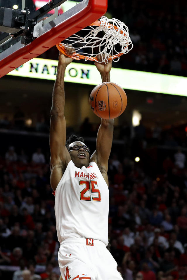 Maryland forward Jalen Smith scores a basket on Northwestern during the second half of an NCAA college basketball game, Tuesday, Feb. 18, 2020, in College Park, Md. Maryland won 76-67. (AP Photo/Julio Cortez)