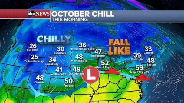 PHOTO: A major fall cool down begins today across much of the country. (ABC News)