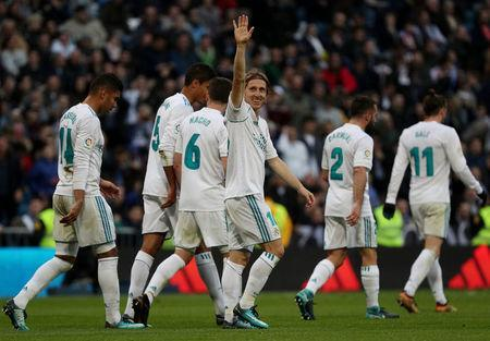 Soccer Football - La Liga Santander - Real Madrid vs Deportivo La Coruna - Santiago Bernabeu, Madrid, Spain - January 21, 2018 Real Madrid's Luka Modric celebrates scoring their fourth goal REUTERS/Sergio Perez