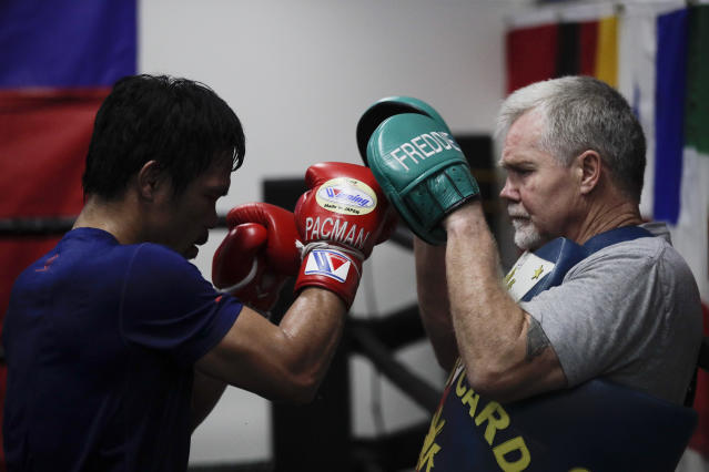 Boxer Manny Pacquiao trains with Freddie Roach at the Wild Card Boxing Club on Monday, Jan. 14, 2019, in Los Angeles. (AP)