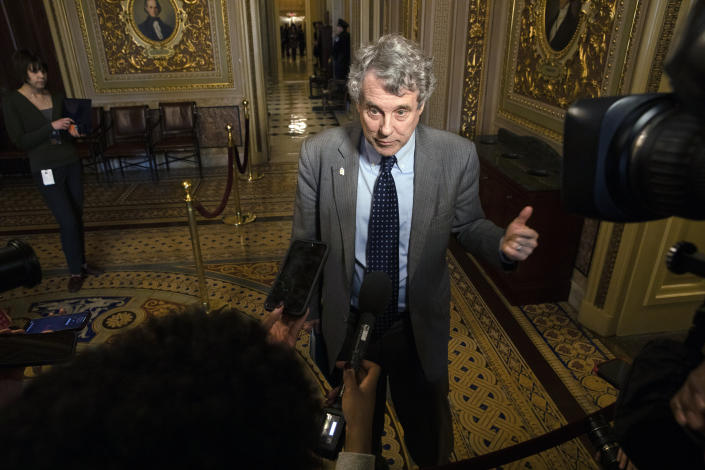 Sen. Sherrod Brown, D-Ohio, speaks to the media on Capitol Hill in Washington in 2020. (Jacquelyn Martin/AP)