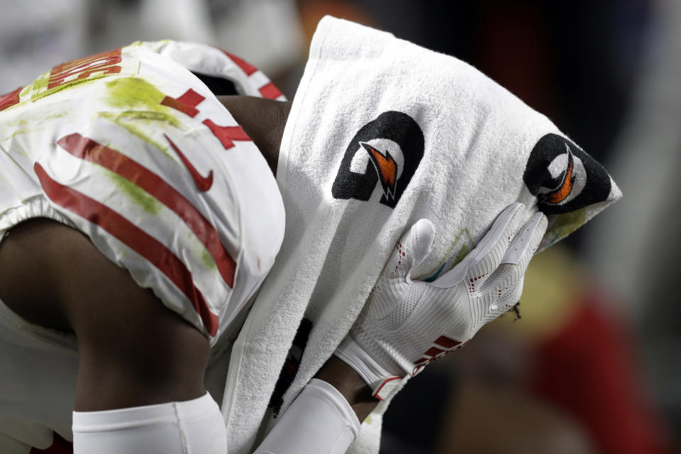 San Francisco 49ers' Emmanuel Sanders sits on the bench during the second half of the NFL Super Bowl 54 football game against the Kansas City Chiefs Sunday, Feb. 2, 2020, in Miami Gardens, Fla. (AP Photo/Chris O'Meara)