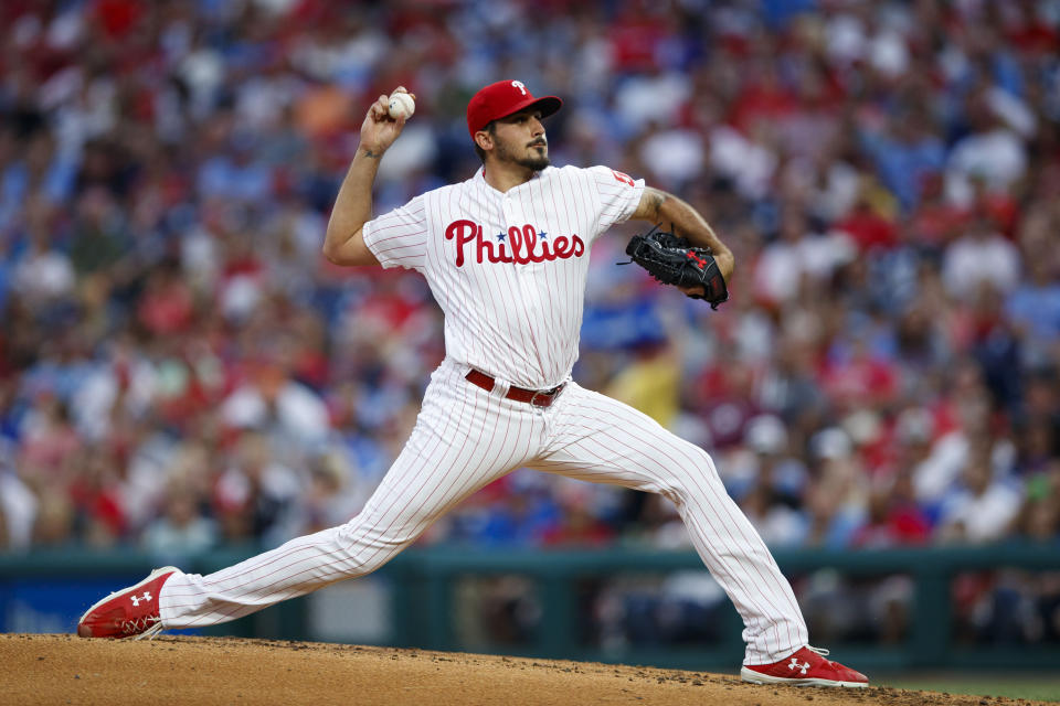 Philadelphia Phillies' Zach Eflin pitches during the third inning of the teams baseball game against the Cincinnati Reds, Friday, June 7, 2019, in Philadelphia. (AP Photo/Matt Slocum)