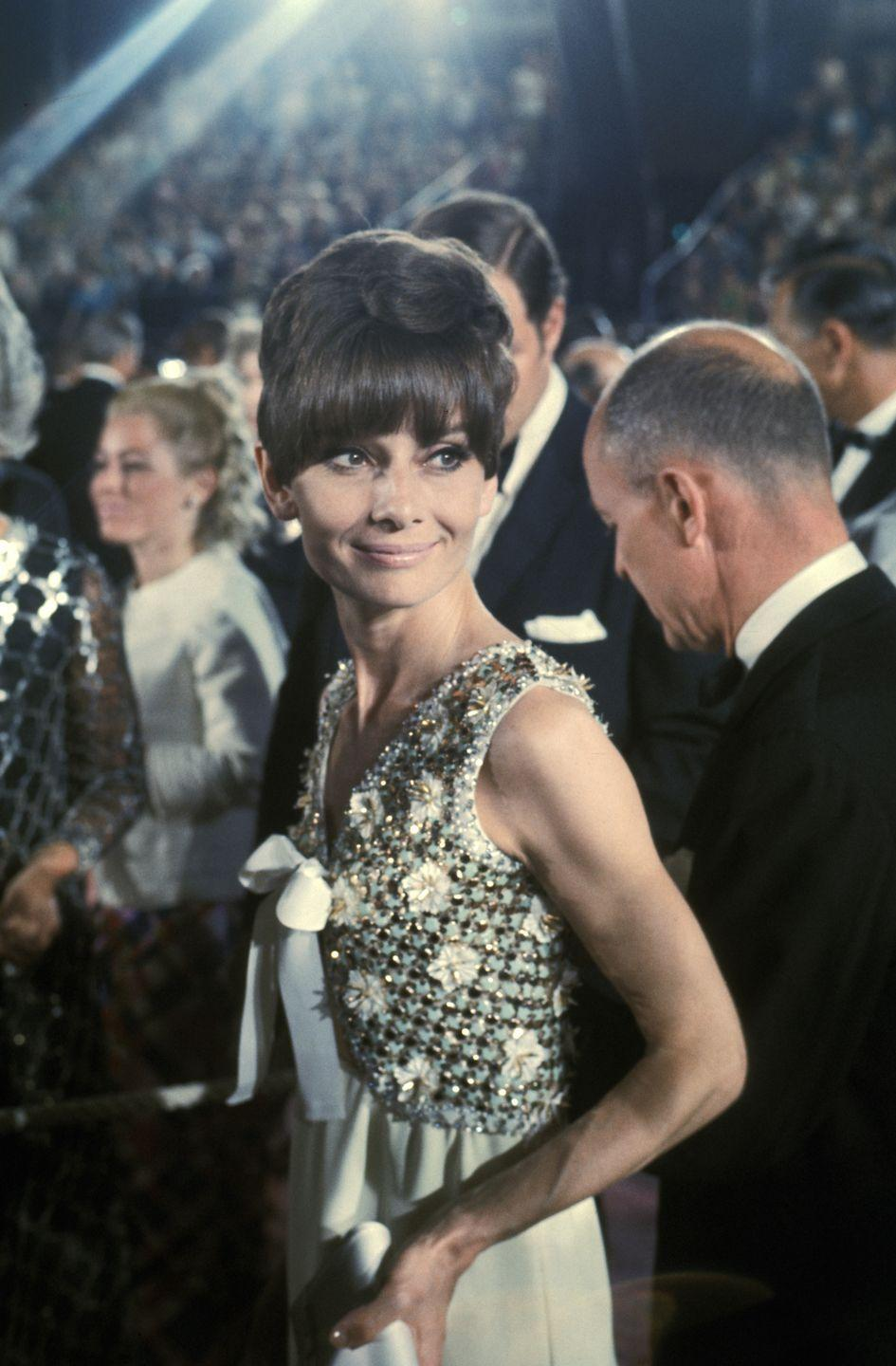 <p>In this classic shot, Hepburn is shown attending 1975's 47th Annual Academy Awards.</p>