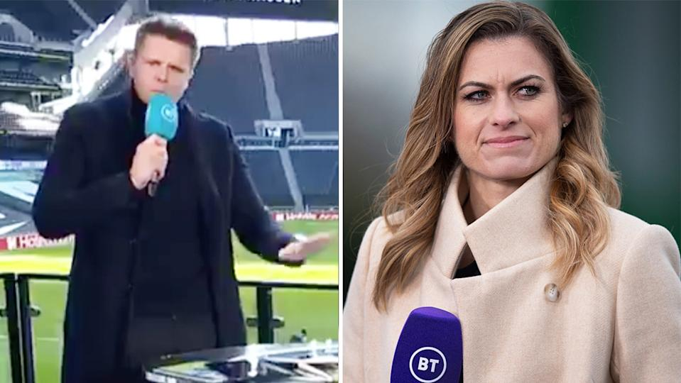 Jake Humphrey (pictured left) speaking live on air and Karen Carney (pictured right) before going on broadcast.