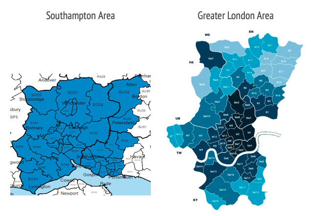 Postcodes in Southampton and Greater London where people can volunteer for the coronavirus vaccine trials. (University of Oxford)