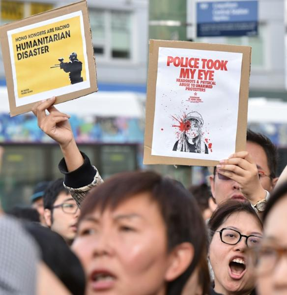 The gatherings come as the Asian financial hub holds protests for the eleventh week running (AFP Photo/Don MacKinnon)
