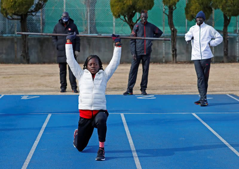 Athletes and a coach from South Sudan attend their training session in preparation for the Tokyo 2020 Olympic and Paralympic Games amid the coronavirus disease (COVID-19) outbreak, in Maebashi
