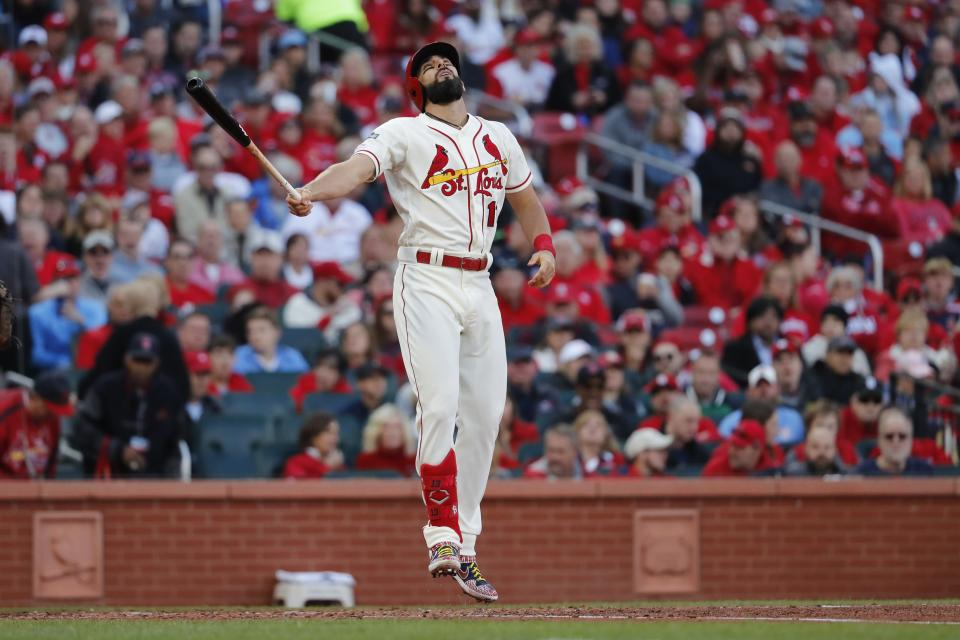 St. Louis Cardinals' Matt Carpenter reacts after striking out during the fifth inning of Game 2 of the baseball National League Championship Series against the Washington Nationals Saturday, Oct. 12, 2019, in St. Louis. (AP Photo/Jeff Roberson)