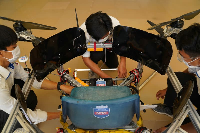 Cambodian students design a manned drone, in Phnom Penh