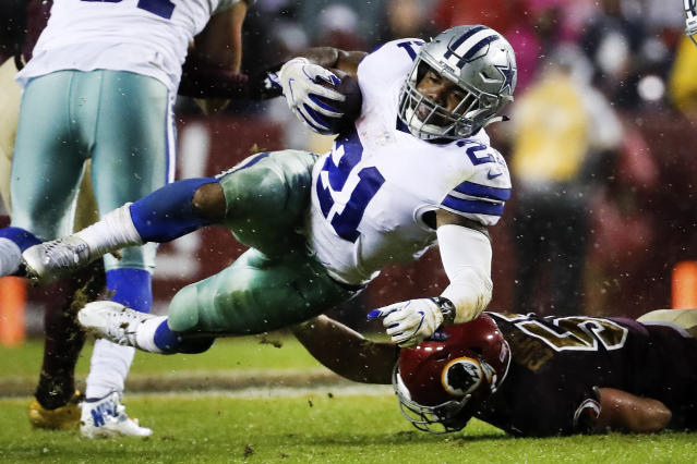 "<a class=""link rapid-noclick-resp"" href=""/nfl/teams/dal/"" data-ylk=""slk:Dallas Cowboys"">Dallas Cowboys</a> running back <a class=""link rapid-noclick-resp"" href=""/nfl/players/29238/"" data-ylk=""slk:Ezekiel Elliott"">Ezekiel Elliott</a> will play on Sunday after being granted a stay. (AP)"