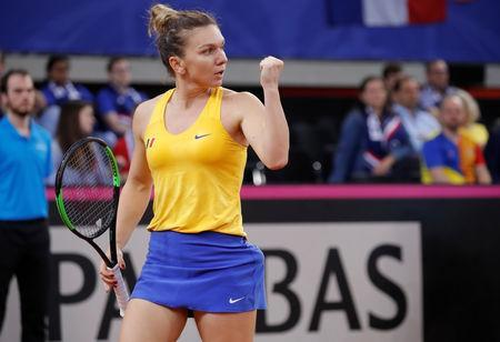 Tennis - Fed Cup - World Group Semi-Final - France v Romania - Kindarena, Rouen, France - April 20, 2019 Romania's Simona Halep reacts during her match against France's Kristina Mladenovic REUTERS/Charles Platiau