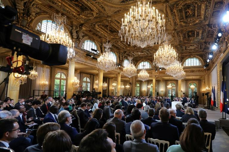 The Macron press conferencer took place in the grand Elysee Palace in Paris
