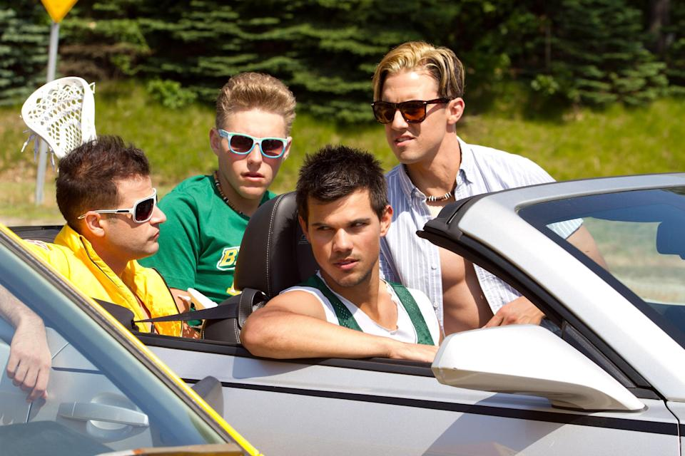 "<p>I personally believe that the first <em>Grown Ups</em> movie didn't need to happen, so you can imagine my thoughts on <em>Grown Ups 2</em>, which somehow ended up making $247 million at the box office. The fact that Milo Ventimiglia plays a frat bro in this flick is the only thing worth mentioning. (Yes, that's him with the frosted blond hair behind Taylor Lautner.) </p> <p><a href=""https://www.amazon.com/Grown-Ups-2-Adam-Sandler/dp/B00FNSR0M0"" rel=""nofollow noopener"" target=""_blank"" data-ylk=""slk:Stream on Amazon Prime Video"" class=""link rapid-noclick-resp""><em>Stream on Amazon Prime Video</em></a></p>"