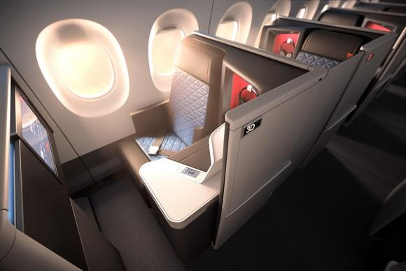 A row of Delta One business class suites on an A350 plane