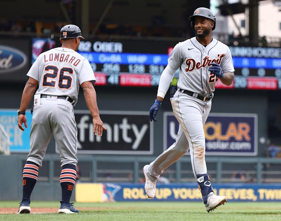 Niko Goodrum #28 of the Detroit Tigers rounds third base after hitting a home run in the second inning against the Minnesota Twins at Target Field on July 10, 2021 in Minneapolis, Minnesota.