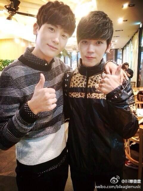 L-R: Korean actor Park Hyung-sik and Taiwanese-Korean singer Bii (Photo: Bii's Weibo)