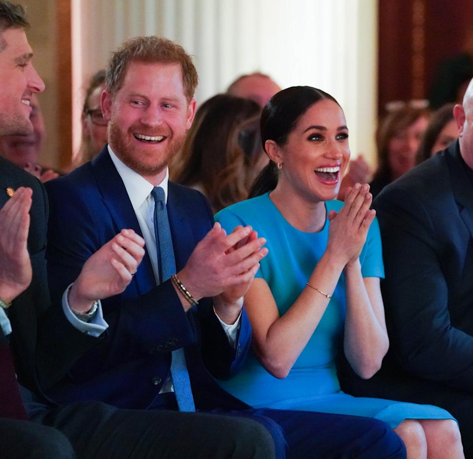 LONDON, ENGLAND - MARCH 05: Prince Harry, Duke of Sussex and Meghan, Duchess of Sussex sitting next to Ross Kemp cheer on a wedding proposal as they attend the annual Endeavour Fund Awards at Mansion House on March 5, 2020 in London, England. Their Royal Highnesses will celebrate the achievements of wounded, injured and sick servicemen and women who have taken part in remarkable sporting and adventure challenges over the last year. (Photo by Paul Edwards - WPA Pool/Getty Images)