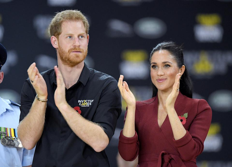 SYDNEY, AUSTRALIA - OCTOBER 27:  Prince Harry, Duke of Sussex and Meghan, Duchess of Sussex attend the wheelchair basketball final during the Invictus Games at the Quay Centre on October 27, 2018 in Sydney, Australia. The Duke and Duchess of Sussex are on their official 16-day Autumn tour visiting cities in Australia, Fiji, Tonga and New Zealand.  (Photo by Karwai Tang/WireImage)