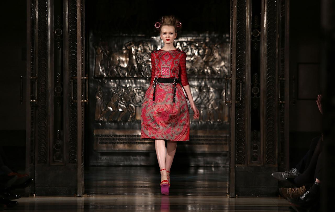 LONDON, ENGLAND - FEBRUARY 19:  A model walks the runway at the Ekaterina Kukhareva show during London Fashion Week Fall/Winter 2013/14 at Freemasons Hall on February 19, 2013 in London, England.  (Photo by Tim Whitby/Getty Images)
